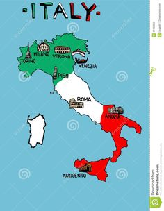 Map of Italy with monuments - Travel Geography For Kids, Maps For Kids, Italy For Kids, Indian Flag Wallpaper, Culture Day, Italian People, Italy Map, Historical Maps, Background Pictures