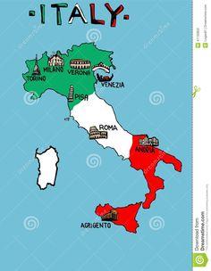 Mappa dell Italia con i monumenti