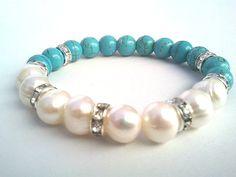 Pearl Bracelet, Wedding Jewelry, Bridesmaid Jewelry, Bridal Jewelry LUXE Cream fresh water pearl, White Cubic Zirconia Rhinestone Crystals