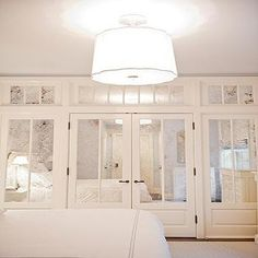 good idea for home sliding closet doors? mirrored closet doors love this! Closet Bedroom, Home Bedroom, Bedroom Decor, Master Bedroom, Closet Wall, Master Closet, Bedroom Ceiling, Gray Bedroom, Curtain Closet