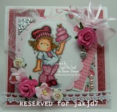 RESERVED for jakjd7 Tilda with Love Cake OOAK Valentine Card by thehoosierstamperhandmadeooakcards for $12.95