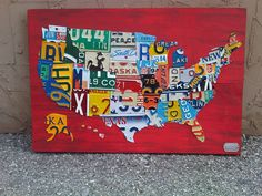 Small Handmade Original License Plate Map by Design Turnpike to Kim in Texas!