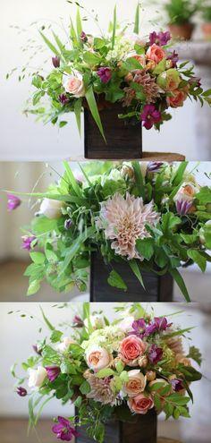 dahlia, peachy garden roses, clematis, oat grass