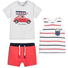 aaaabf56363 Baby Boys Red   Navy Blue 3 Piece Shorts Set