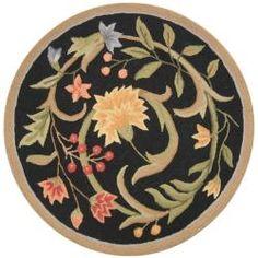 Hand-hooked Garden Scrolls Black Wool Rug - floral