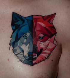 Mátyás Csiga Halász (from Dark Art Tattoo studio) but do it as a sheep and wolf? Deer and wolf?