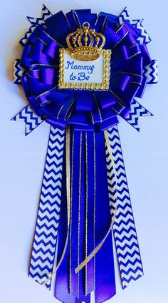 Royal blue baby shower mommy to be pin by Marshmallowfavors