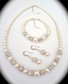 Bridal Jewelry  Pearl set  Sterling Silver  by QueenMeJewelryLLC, $99.00