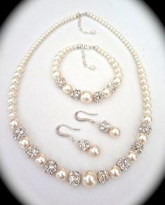 Bridal Jewelry  Pearl set  Sterling Silver  by QueenMeJewelryLLC, $99.00