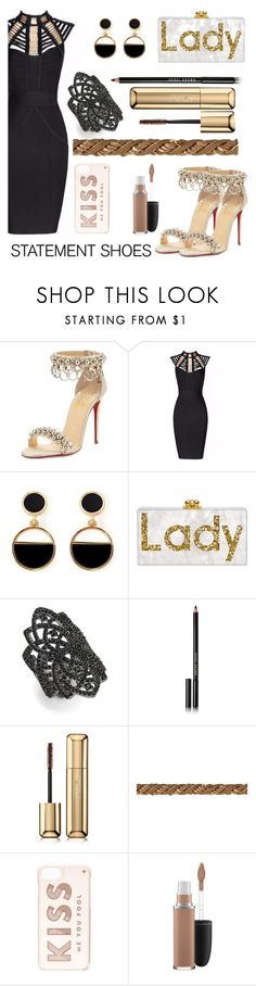 """Gold!"" by florasart ❤ liked on Polyvore featuring Christian Louboutin, Posh Girl, Warehouse, Noir, Bobbi Brown Cosmetics, Guerlain, Kate Spade and MAC Cosmetics"
