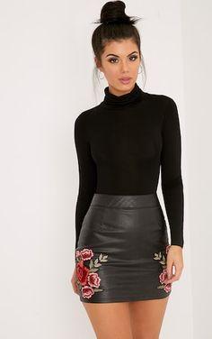 Basic Black Roll Neck Long Sleeve Bodysuit