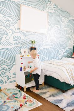 Finn's California Coastal Cool Big Boy Room Reveal — Occasionally Perfect . by Heidi jo Wells - Modern Toddler Boy Room Decor, Toddler Rooms, Boys Room Decor, Baby Boy Rooms, Kids Decor, Kids Bedroom, Lego Bedroom, Minecraft Bedroom, Boy Decor