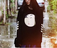 Lost in Kyoto collection Traditional Japanese portrait painting black short top/ long top/bag on Etsy, $25.00