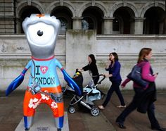 London 2012 Olympics: sculptures of mascots Wenlock