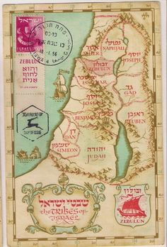 """10 repins! Twelve Tribes of Israel Map. Many many native americans are from the ancient tribe of """"Manasseh"""", of the House of Israel, and only they share with many in Israel, the haplogroup X DNA, which is found in many burial grounds of the heartland of America (Ohio and surrounding areas). They came here by the hand and guidance of God, through the Prophet Lehi and Prophet Nephi, out of Jerusalem 600BC TO PRESERVE THEIR LIVES, when Jerusalem was about to be destroyed."""