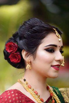 Maharashtrian Wedding Hairstyles For Medium Hair Garden - marathi wedding makeup and hairmake. Maharashtrian Wedding Hairstyles For Medium Hair Fit And Flare - marathi wedding makeup and hairmakeoverssukanya. www<br> Saree Hairstyles, Bride Hairstyles, Indian Hairstyles For Saree, Flower Hairstyles, Open Hairstyles, Hairstyles Videos, Wedding Hairstyles For Medium Hair, Wedding Hairstyles For Long Hair, Bridal Makeup
