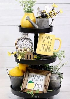 18 Beautiful Ways to Brighten Your Home with Lemon Decor 3 Tier Stand, Tiered Stand, Rustic Decor, Farmhouse Decor, Farmhouse Style, Lemon Kitchen Decor, Tray Styling, Spring Home Decor, Tray Decor