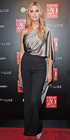 IVANKA TRUMP We're getting serious goddess vibes from the style mogul's long wavy locks and dramatic draped gown, worn with matching metallic accessories to the InStyle party.