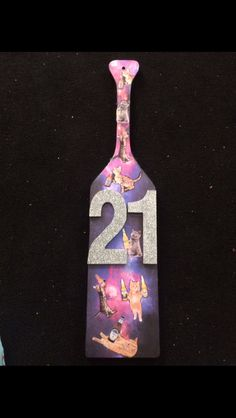 21st birthday paddle for my big. Drunk cat galaxy beer paddle