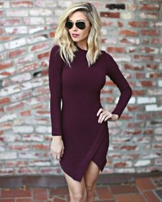 Long Sleeve Asym Dress Size Large, Color Wine