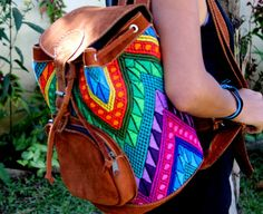Leather and vintage Huipil Backpack from by Guatemalaconamor