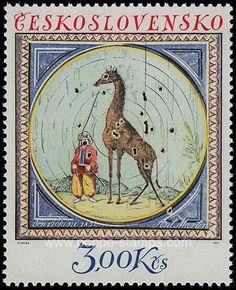 Poppe Stamps: Czechoslovakia, 1974, 2183, Giraffes, Shooting, Mountains, Men - stamps for sale by theme and country