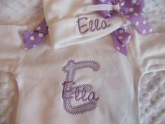 "Personalized Baby Girl newborn Layette gown set ""take home outfit"" with matching personalized cap"