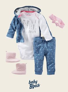 With a shiny slogan and matching floral blues, this new girl has style that's both comfortable and classic. Add a soft pink bow and booties for her first walk around the block.