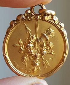 Vintage French Art Nouveau Pendant Medal Flowers Bouquet Arrow 18K Gold Plated Signed Art Nouveau Jewelry Flower Basket Pendant by PinyolBoiVintage on Etsy