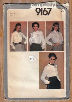 "1970's Plus Size Womens' Blouse Tops - Button Down Long Sleeve - Size 16 Bust 38"" Waist 30"" Hip 40"" - Sewing Pattern Simplicity 9167 UNCUT by Sutlerssundries on Etsy"
