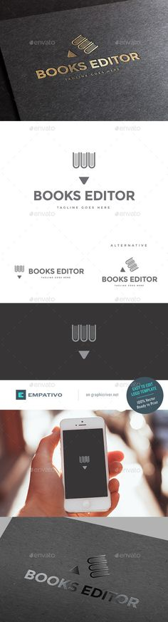 Buy Book Publisher Logo Template by empativo on GraphicRiver. Modern, versatile and stylish logo template. Ideal for a wide range of uses. Easy to edit color. Self Branding, Logo Branding, Branding Design, Logo Design Template, Logo Templates, Logo Inspiration, Library Logo, Lab Logo, Book Wallpaper