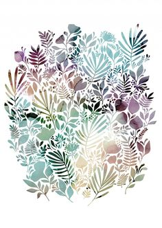 Meadow - Pastel, illustratuin by Sofie Rolfsdotter #nordicdesigncollective #sofierolfsdotter #meadow #pastel #illustration #leaves #nature