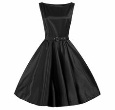 Be a Classic in this Plus Sized Hepburn styled Black Satin 1950's Rockabilly Swing Dress.  available in REGULAR AND PLUS SIZES ! P18-P24