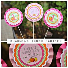Little Pumpkin Birthday decor.  Pink, orange and green little pumpkin centerpiece by Charming Touch Parties.  Set of 3, fully assembled. by CharmingTouchParties on Etsy