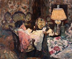 "lawrenceleemagnuson: ""Edouard Vuillard Le Tapis á fleurages (Madame Hessel in her living room at Saint Jacut) oil on artist-board 43 x cm "" Pierre Bonnard, Edouard Vuillard, Felix Vallotton, Art Français, Avant Garde Artists, Impressionist Artists, Post Impressionism, Paul Gauguin, Japanese Prints"