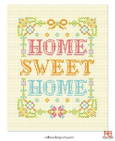 Home Sweet Cross stitch pattern PDF Floral Home by redbeardesign