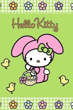 Mimmy and Hello Kitty: Wallpaper Hello Kitty Easter Habbit Hello Kitty Iphone Wallpaper, Hello Kitty Backgrounds, Sanrio Wallpaper, Little Twin Stars, Happy Palm Sunday, Keroppi, My Melody Sanrio, Sanrio Danshi, Easter Wallpaper