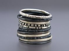 Skinny Stacking Ring Set in Sterling Silver - Pick any 3 rings Maigre empilage bague sertie e.