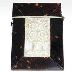 Victorian Tortoiseshell Mother of Pearl & Ivory Calling Card Case.