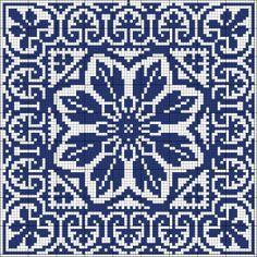 Blue tile | Chart for cross stitch or filet crochet | Wolf et Dupeyron.