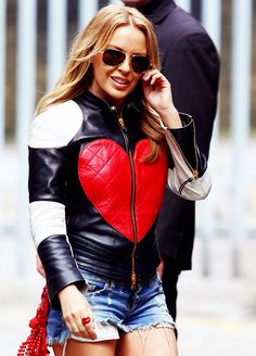 Leather Skin Women Quilted Blue with Red Love Heart Genuine Leather Jacket 799491899704 Leather Skin, Leather Jacket, Kylie Minouge, Style Snaps, Black White Red, Lady In Red, Celebs, Celebrities, Womens Fashion