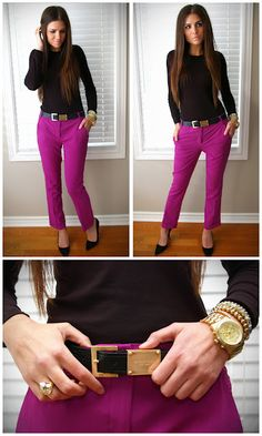 Best how to wear pink jeans pants shoes 18 Ideas Business Outfits, Office Outfits, Casual Outfits, Cute Outfits, Fashion Outfits, Business Casual, Purple Pants Outfit, Purple Jeans, Look Office