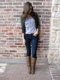 tuck your button-down into jeans, then wear a cardigan over it. this layered look is warm without being to bulky.