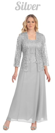 Long Chiffon Silver Mother of Groom Dress Lace Long Sleeve Jacket (9 Colors Available)