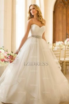 A-Line/Princess Sweetheart Strapless Court Train Tulle wedding dress - IZIDRESSBUY.com at IZIDRESSBUY.com