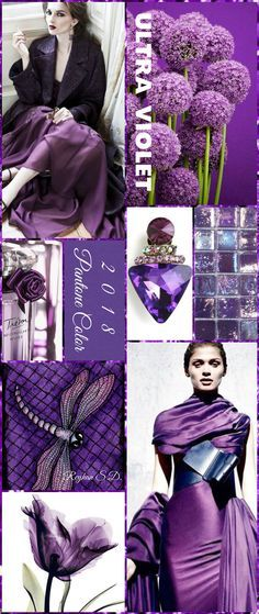Today we are going to present you the Pantone Color of the Year After a year filled with Greenery, the color experts at Pantone have decided to go for an unexpected, but refreshing hue: Ultra Violet. Colour Schemes, Color Patterns, Color Combos, Color Trends 2018, 2018 Color, Lila Outfits, Today's Fashion Trends, Color Collage, Malva
