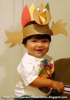 make your own turkey hat/headband craft.... so cute! - Repinned by Lessonpix.com