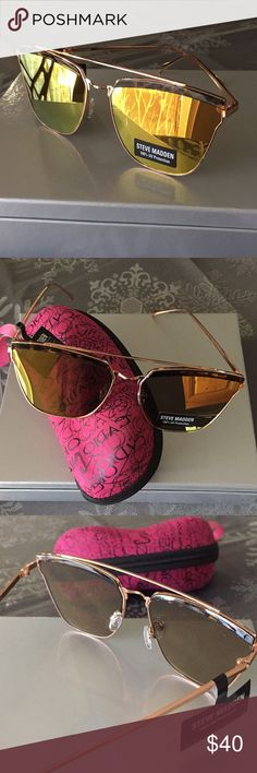 Steve Madden Rose Gold Sunglasses/NWOT Beautiful Aviator-style Sunglasses from SM with metal frame and UV protection lenses, nice double bridge and comes with a elegant hard case for storage....brand new but no tags Steve Madden Accessories Sunglasses
