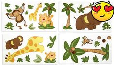 #newborn Babies will go wild for #NoJo Jungle Babies wall decals. It comes ready to stick onto the wall. Get creative in designing your own custom look. Easy on,...
