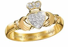 Claddagh RIngs have been worn since the 17th century. The hands mean friendship, the heart means love and the crown symbolizes loyalty. There are a variety of ways to wear this ring to tell the world if you are single, dating, engaged or married.
